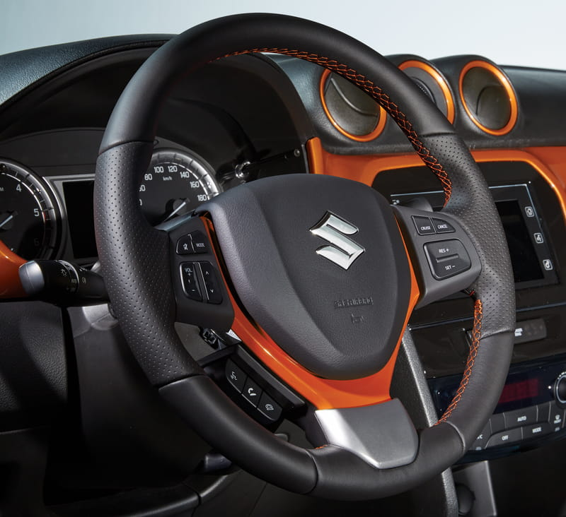 Leather Steering Wheel - Orange